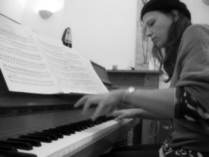 sarah black and white piano